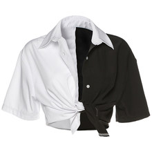 Женские Лоскутные рубашки в стиле хип-хоп, топы с коротким рукавом и отложным воротником, женская рубашка на пуговицах, летняя уличная одежд...(Китай)