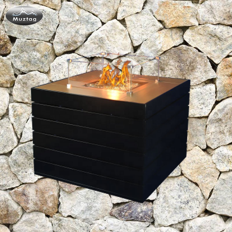 Fireplace Gas Modern Free Standing Cast Iron Outdoor Patio Gas Fireplace Double Sided Garden Hearth