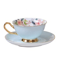 Wholesale Bone China Golden Handle Teacup Ceramic Tea Cups Saucers Sets with Spoon