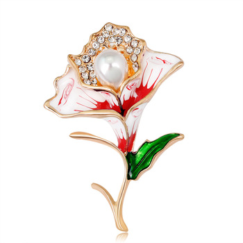 Wholesale Korea high quality Fashionable Gold Enamel Bridal Flower Brooch Vintage Bouquet Women Jewelry Pearl Rhinestone Brooch