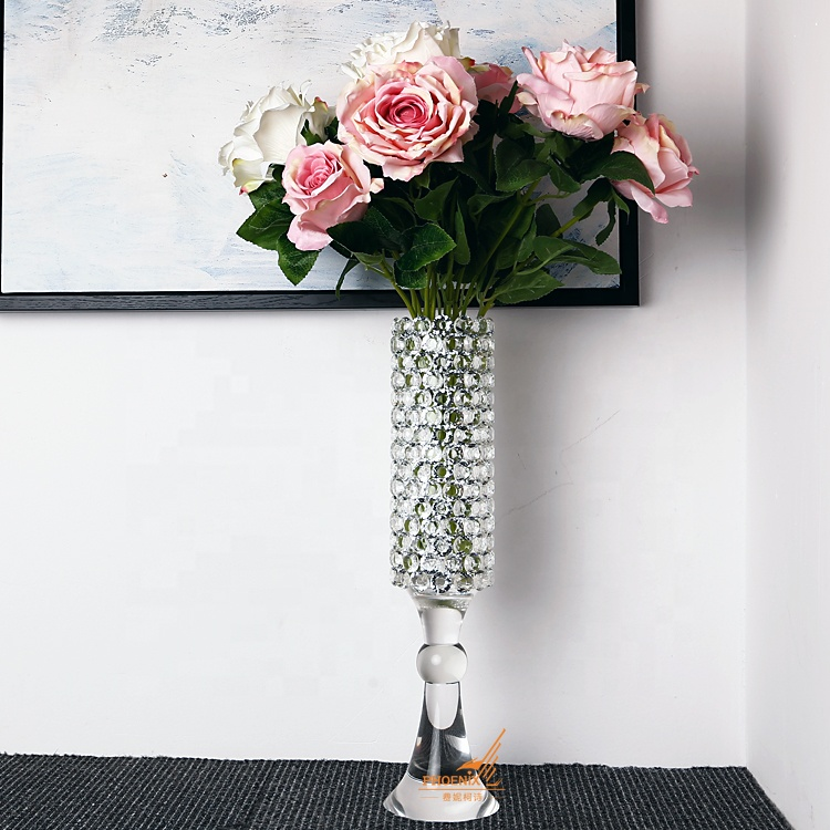Wholesale clear tall luxury crystal glass wedding flower vase for home table top decorations centerpieces