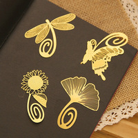 High quality Butterfly Dragonfly Ginkgo gold metal bookmarks for books