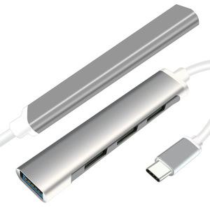 Best Selling Stock 4 In 1 Usb C Hub With Tpe Round Wire Type-C Hub Aluminum Super Speed Usb Hub Type-C