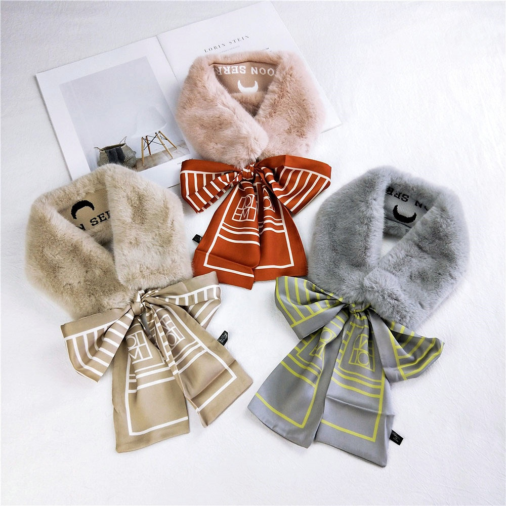 2019 New Fashion Soft Women <strong>Faux</strong> Rabbit Fur Collar Scarf Plush Collar Neck Warmer Winter Shawl <strong>Wrap</strong> Small Plush Bib For Girls