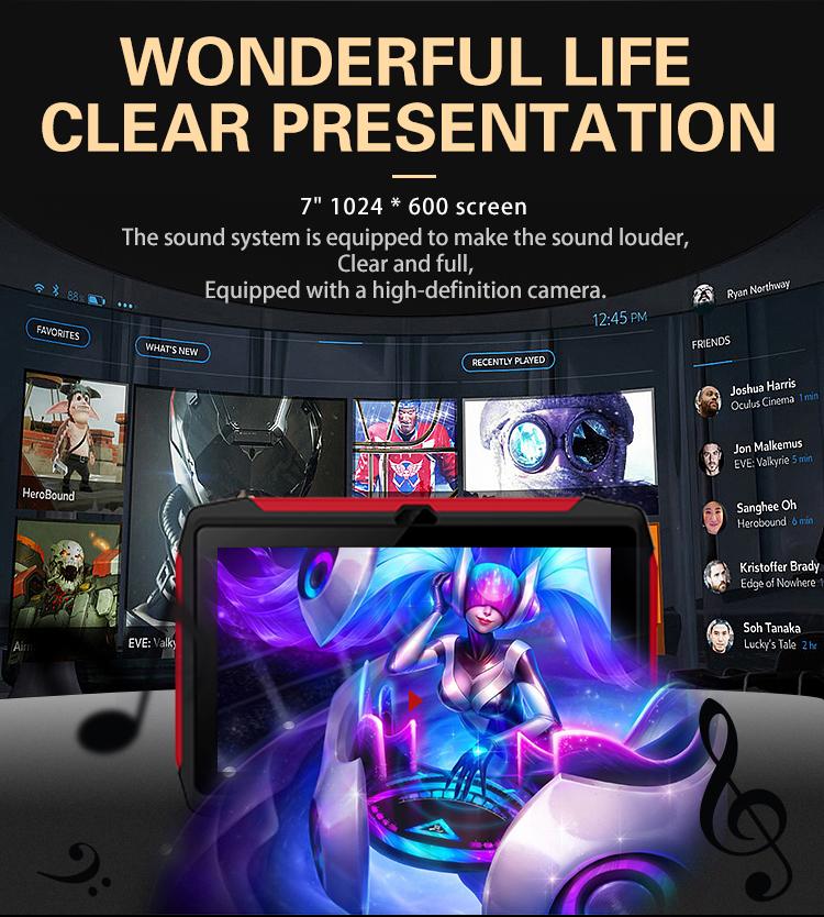YEOPARM großhandel kinder spiel tablet pc 7 zoll 1024*600 multi touch HD bildschirm 1G RAM 18G ROM android 9 google GMS tablet pc