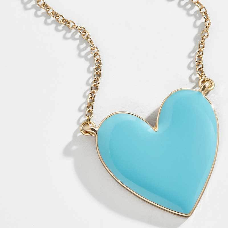 2019New <strong>fashion</strong> red white pink and yellow heart enamel necklace girl, party ins style necklace, factory accessories wholesale