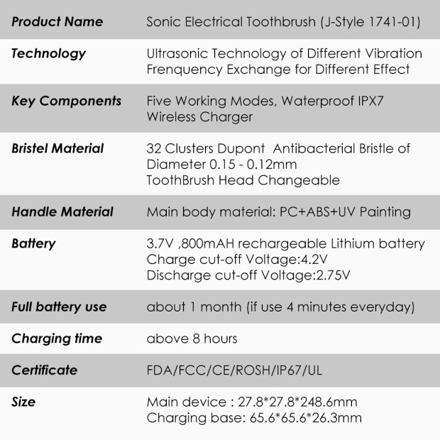 Electric Toothbrush Health Care Oral hygiene Ultrasonic Rechargeable Waterproof USB Charger Brush Tooth Whitening