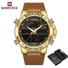 NAVIFORCE роскошные золотые мужские часы, спортивные светодиодные цифровые кварцевые часы, военные кожаные водонепроницаемые часы, мужские час...(Китай)