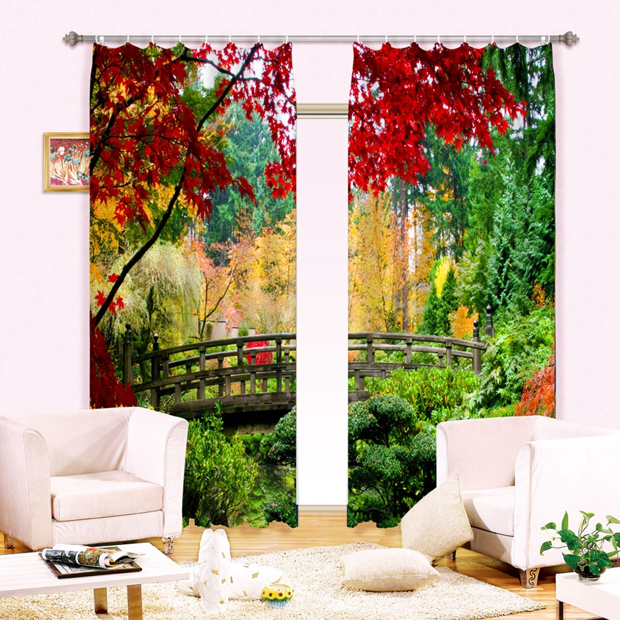 Colorful forest bridge environmental protection digital printing high quality blackout curtain babson curtains