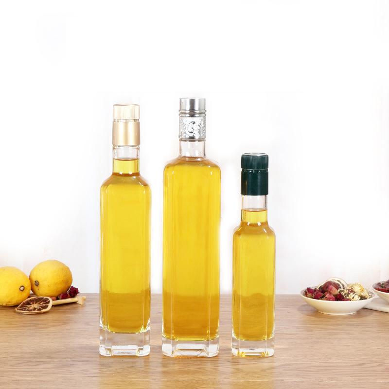 Venta al por mayor de 250ml 500ml 750ml cuadrado claro de cocinar con aceite de oliva botellas de vidrio