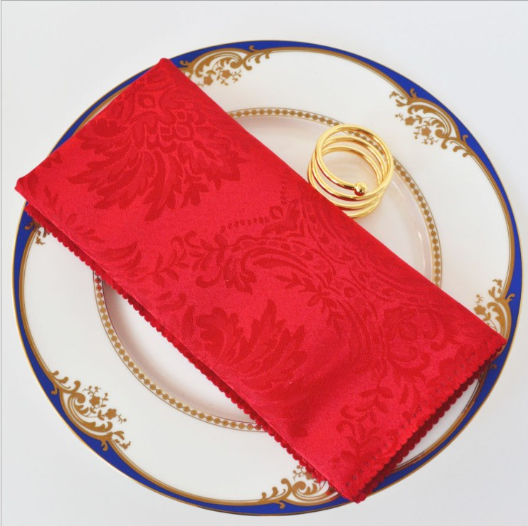 China supplier fancy reusable Square cotton dinner hall Plain embroidered woven napkin cloth