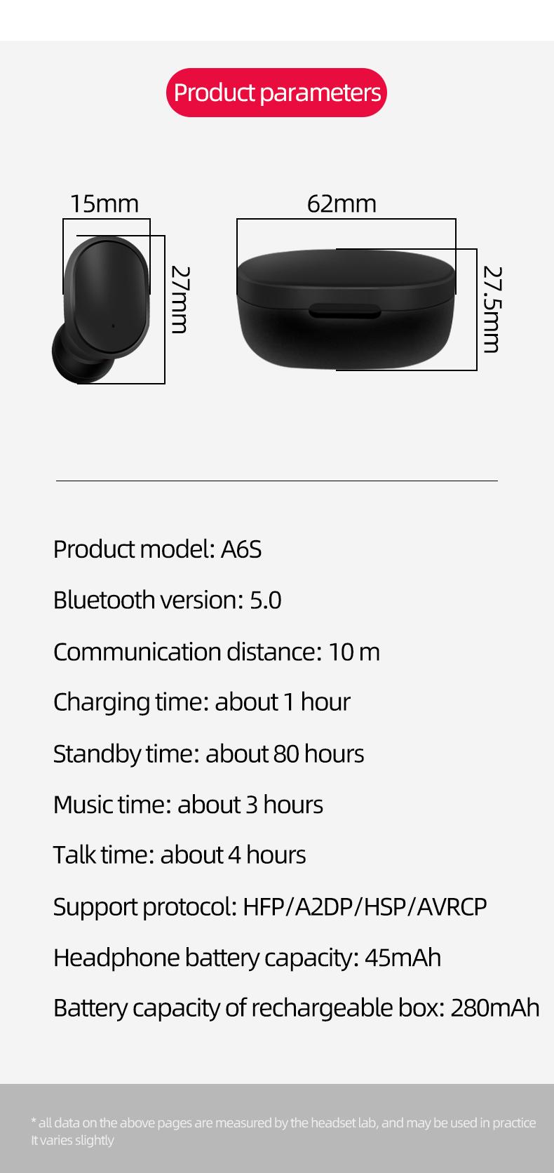 Bluetooth 5.0 TWS A6S
