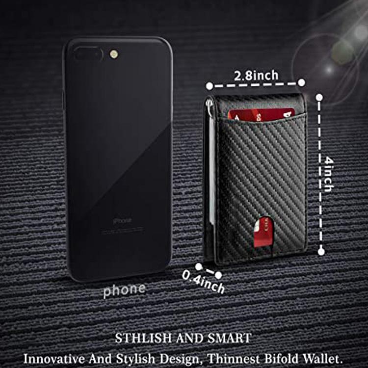 Best Selling Minimalist Carbon Fiber Money Clip Slim Rfid Leather Card Holder Wallet Money Clip For Men