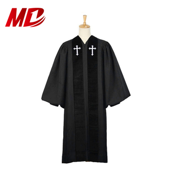 Black Wesley Style Wholesale Clergy Robes choir robes for sale