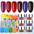 Red/Blue/Black Starry Sky Nail Dipping Powder Colors Kit for Starter Beginners G6407, New formula, Faster and Healthier