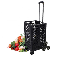 VERTAK plastic mesh rolling folding cart trolley shopping cart with 4 wheels