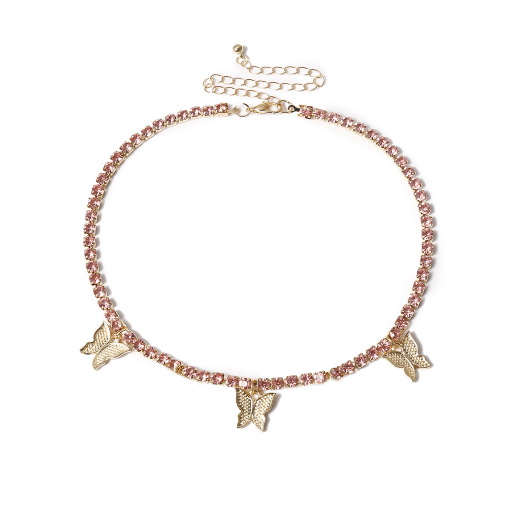 Fashion Iced Out Crystal Diamond Tennis Butterfly Anklet Jewelry