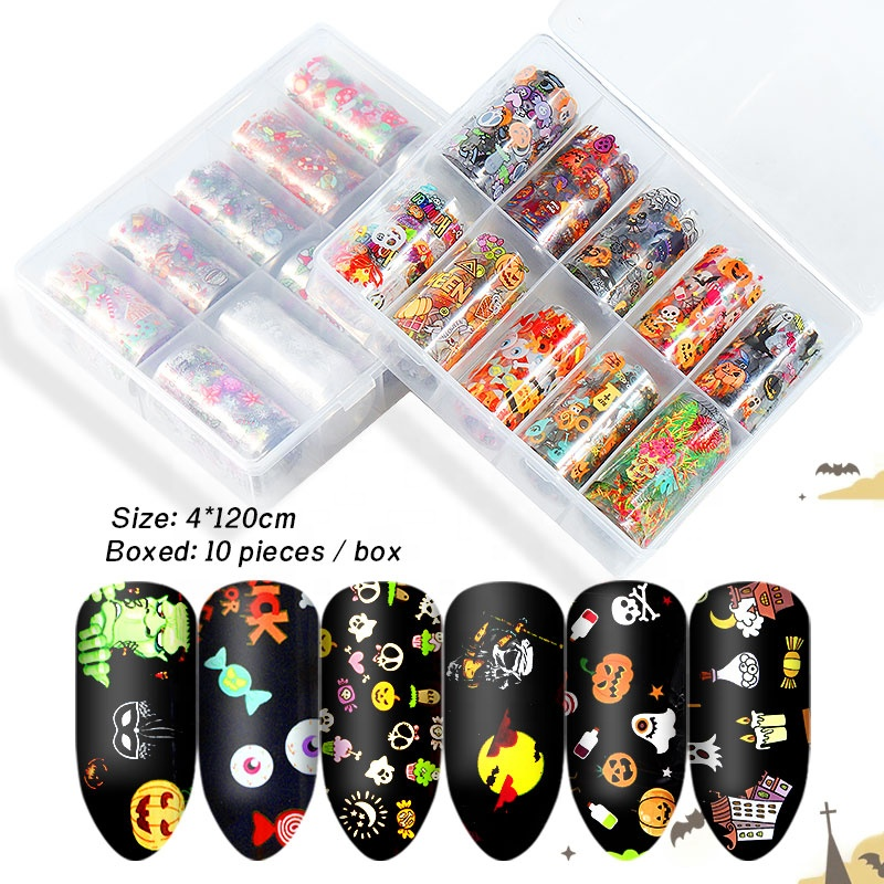 Misscheering Christmas And Halloween Nail Foil Transfer Paper Set Iridescence Holographic Nail Art Stickers
