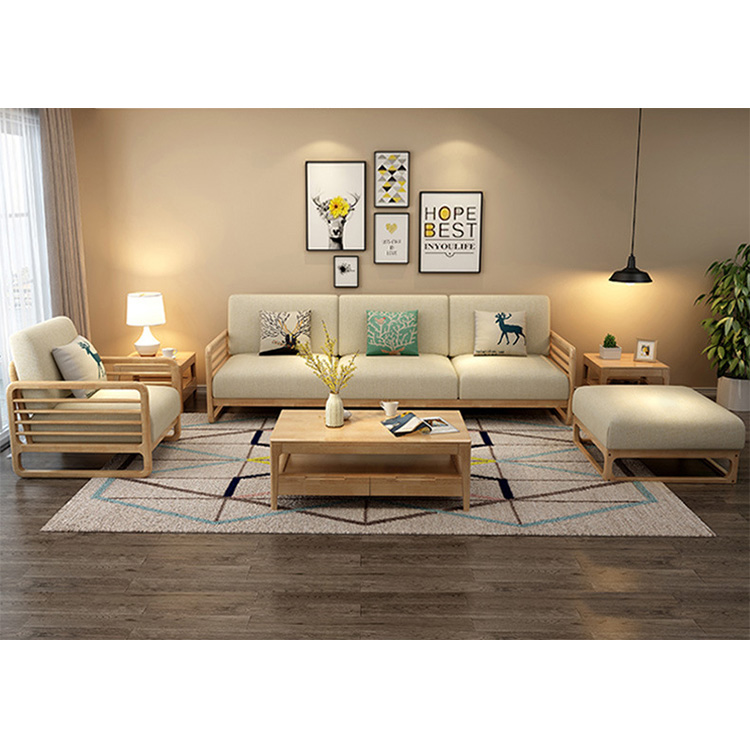 product-BoomDear Wood-living room wooden sofa leisure affordable 2 colors fabric modern cheap set 3 -2