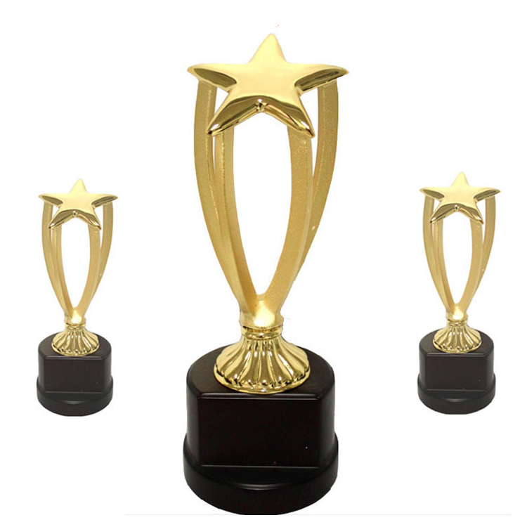 Metal customized corporate award trophy with wooden trophy base
