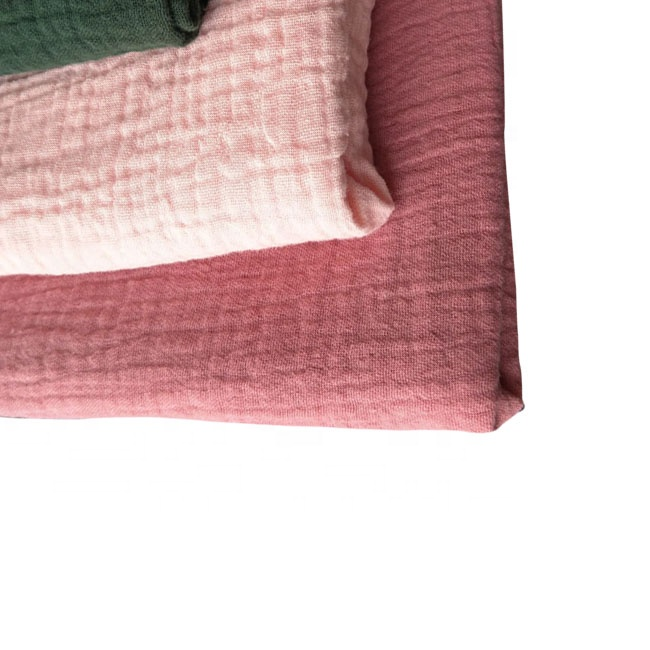 100% Cotton Double Crinkle Gauze Fabric for garment
