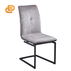 Modern fabric powder coated metal leg leather dining chair high back comfort seat bow chair metal fabric leisure chair