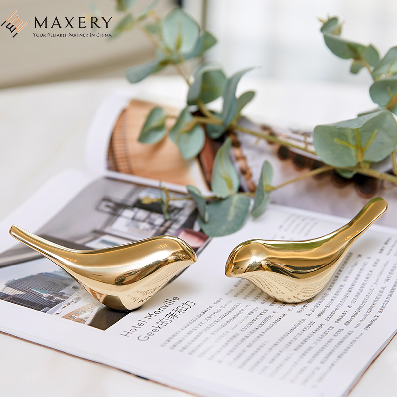 Maxery Interior Decoration Luxury Brass Bird For Home Decor For Kitchen Cabinet Or Study Table