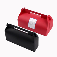 Wholesale Cheap Food Packing Red Black Kraft Paper Pastry Packaging Box Cake