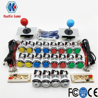 2 Player DIY Arcade Kit With 5V LED Silver Chrome Coin Buttons Sanwa Joystick USB Encoder Cable For PC Raspberry Pi Game