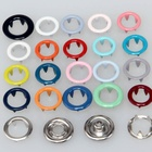 Flatback Snap Metal Button Custom 4 Part Silver Color 10mm Metal Ring Prong Snap Button For Babies Clothing