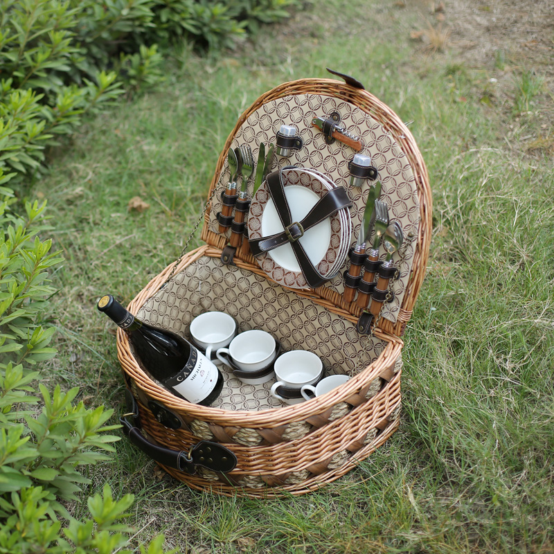 Kingwillow hot sale wicker picnic basket set willow storage baskets with lid