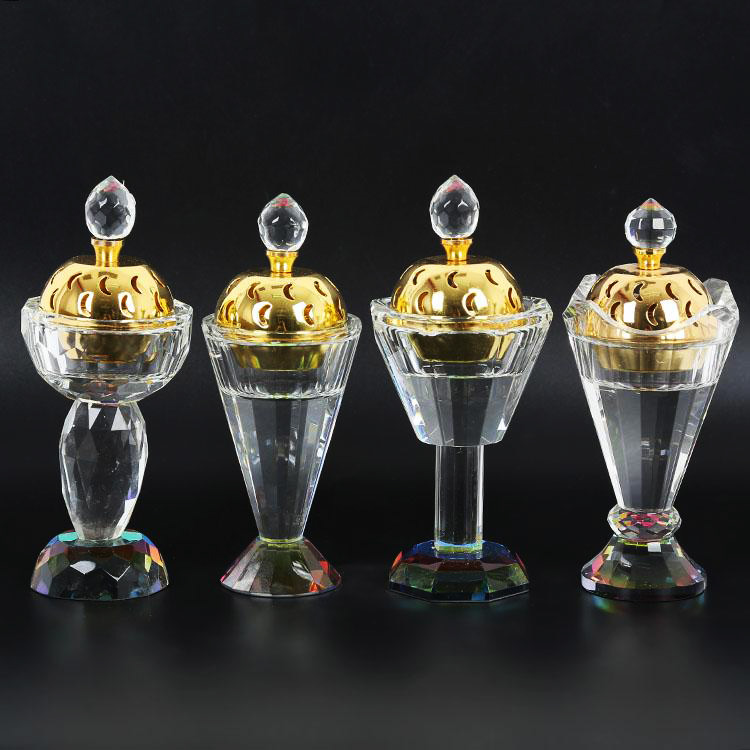 small crystal glass burner incensory without cup
