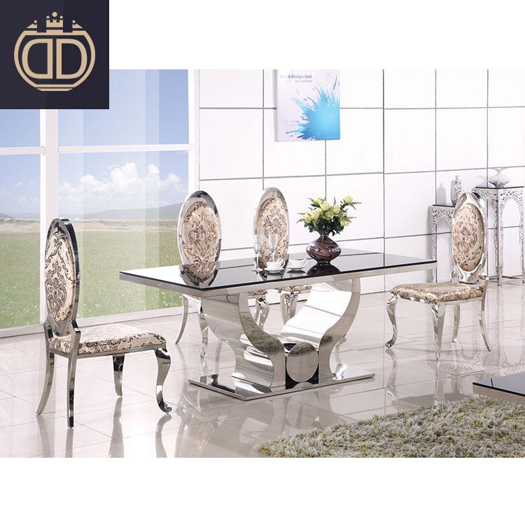 Modern Atas Gloss Tinggi 6 Kursi Ruang Makan Kaca Meja Makan dengan 6 Kursi Set