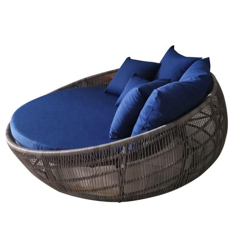 Conjunto de jardín al aire libre muebles de mimbre redonda tumbona de mimbre playa salón de Sol de natación de la piscina tumbona