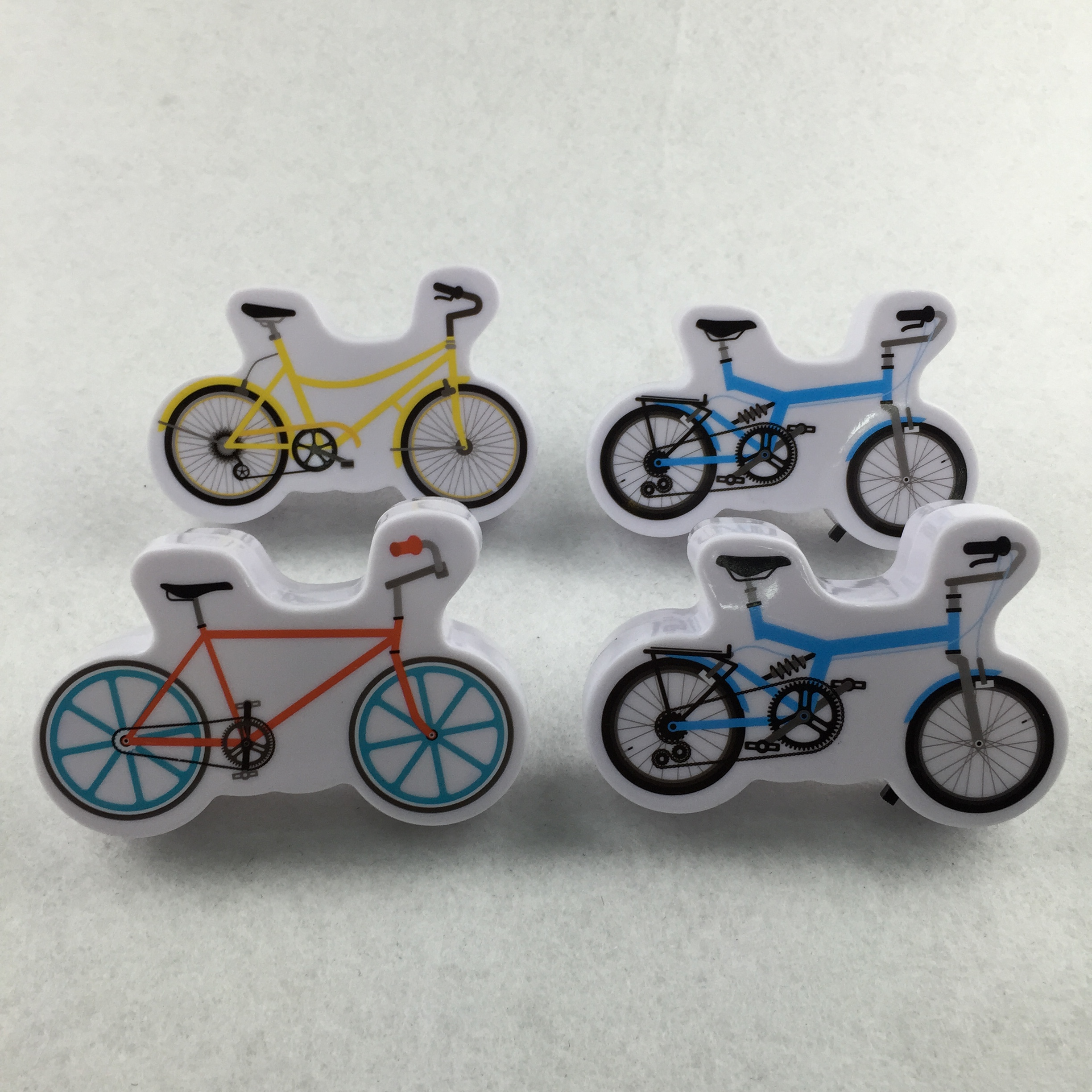 W095 Cartoon bicycle 4 SMD mini switch plug in room usage with  night light wall decoration child gift