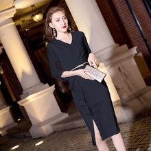 Белые платья для выпускного вечера It's Yiiya AR301 с v-образным вырезом Vestidos De Fiesta Elegante Обтягивающее Платье До Колена с рукавом три четверти 2020(China)