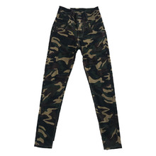2019 frauen Neue Mode Klassische Hohe Taille Camouflage <span class=keywords><strong>Jeans</strong></span>