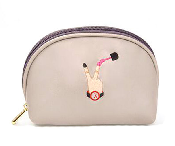 Cute PU Leather Embroidery Cosmetic Bags Zipper Pouch