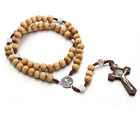Wholesale European And American Round Wooden Beads Handmade Thread Weaving Catholic Christianity Cross Rosary Beads Necklace