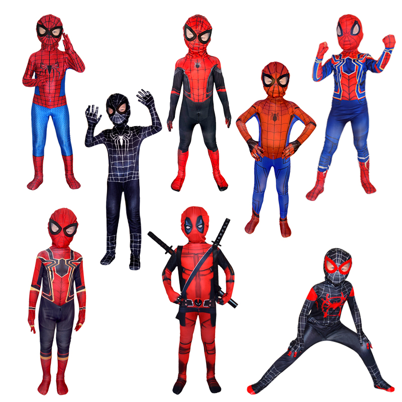 Halloween hero expedition spider man cos anime steel spider Miles Morales hero plays tights for children