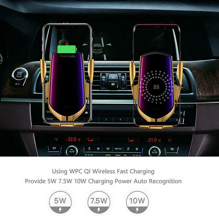 R1 Automatic clamping smart sensor car mount phone wireless charger holder rack wireless car charger holder QI fast charging