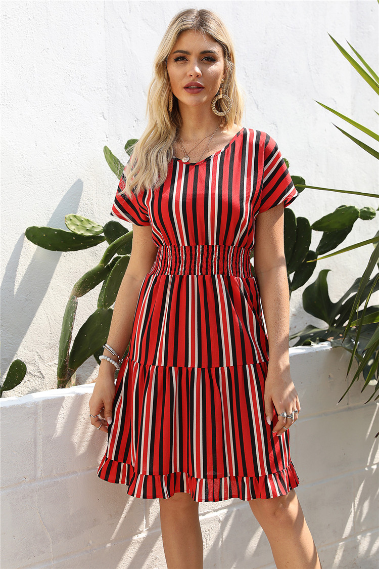 2020 new causal dress Stitching striped ruffles summer dress for women