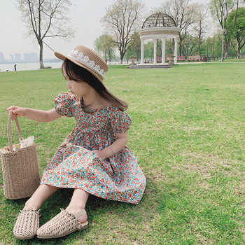 Ivy10673A Summer 2020 new design Korean style girls kids floral dress baby girls backless printed frocks