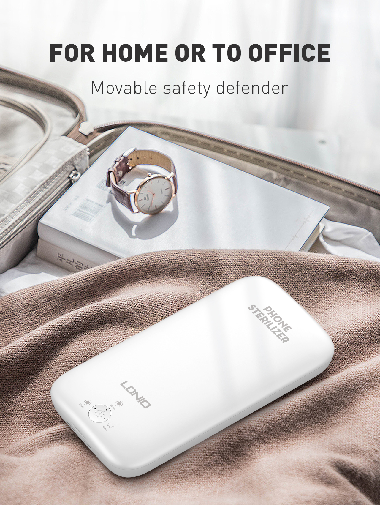 LDNIO UV Light Sanitizer Box, UVC Sterilizer for Smartphone Clinically Proven Kills 99.9% of Germs Viruses & Bacteria