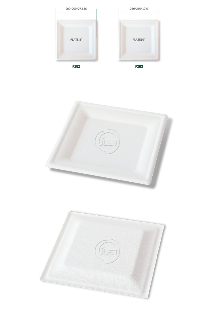 "China factory cheap sale paper square plate 8"" square plate 10"" pulp tableware products"