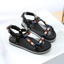 2019 New Women Sandals Fashion Platform Shoes Color Rhinestones Sandals Women Flat Shoes Summer Beach Ladies Shoes Sandals