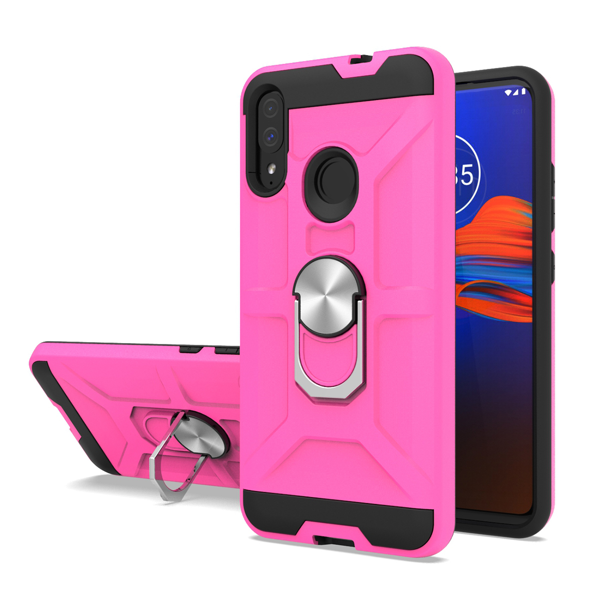 New coming combo mobile phone case with ring holder shockproof cover for Moto E6 plus