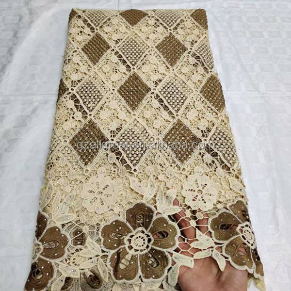 AN4001 African chemical lace Water Soluble Guipure lace fabric
