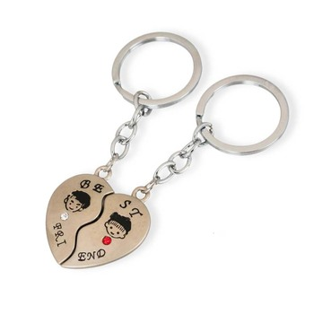 Personalised gift metal friend magnetic keychain for couple