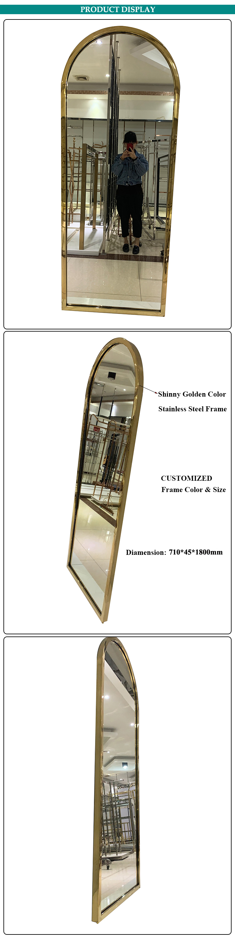 Floor Mirror Standing Gold Classic Mirror Frame Stainless Steel Frame Mirror
